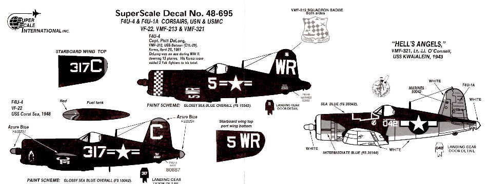 Superscale (48-0695) F4U-4 & F4U-1A Corsair, 1/48