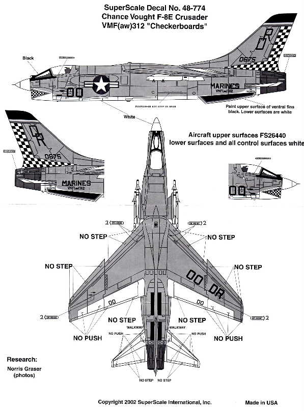 Superscale (48-0774) F-8E Crusader, VMF-(aw)312 Checkeboards, 1/