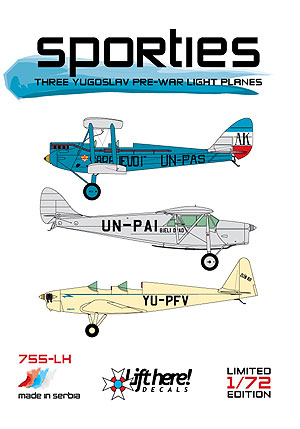 "755-LH ""Sporties"", Yugoslav Pre-war Light Planes, 1/72"