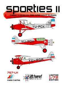 "767-LH ""Sporties II"", Three Yugoslav pre-War Light Planes, 1/72 - Click Image to Close"
