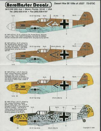 Aeromaster (72-073) Desert War Bf-109's of JG27, 1/72 - Click Image to Close