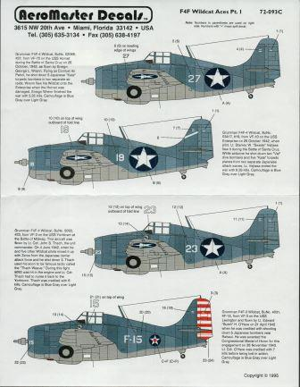 Aeromaster (72-093) F4F Wildcat Aces Part I, 1/72