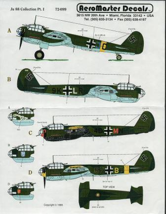Aeromaster (72-099) Ju88 Collection Part I, 1/72