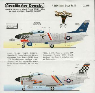 Aeromaster (72-155) F-86D Sabre Dogs Part II, 1/72, 1/72