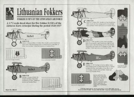 Blue Rider (BR235) Lithuanian Fokkers, 1/72
