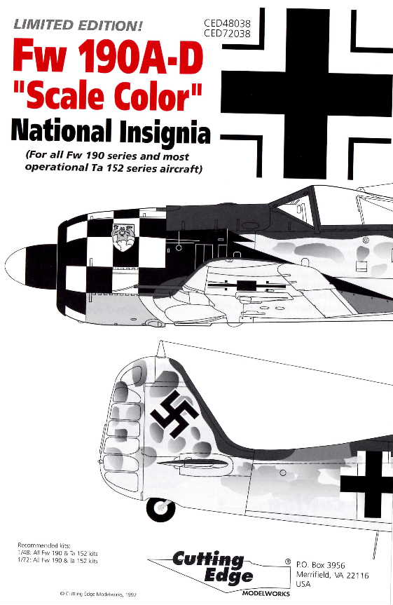 Cutting Edge (CED48038) Fw-190A-D National Insignia, 1/48
