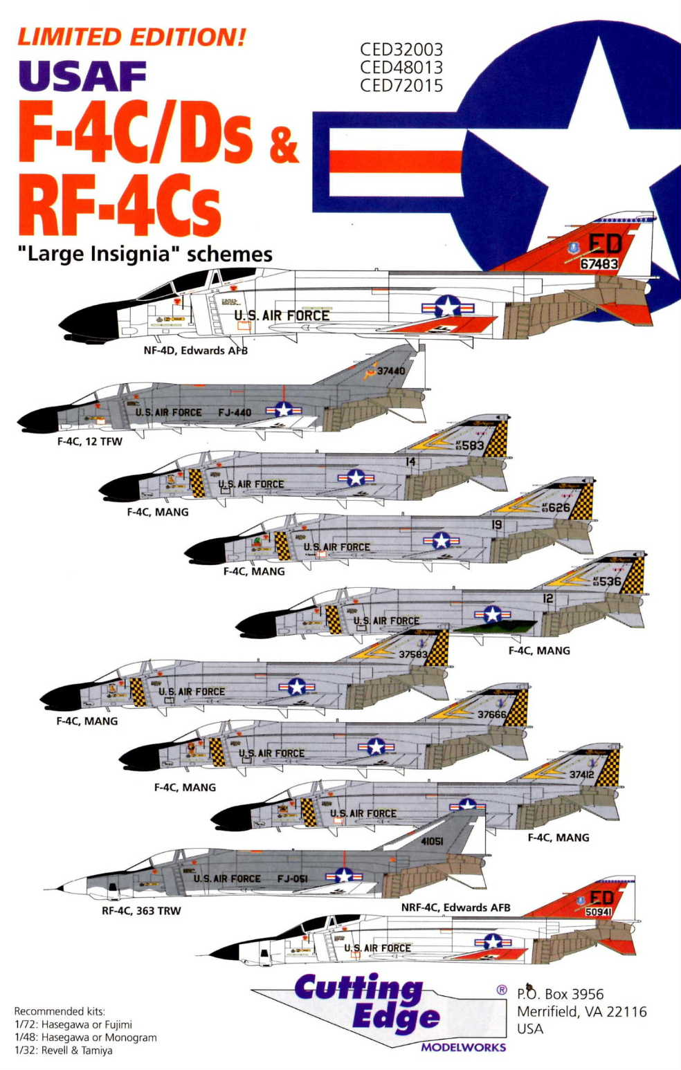 Cutting Edge (CED72015) USAF F-4C/D & RF-4C, 1/72