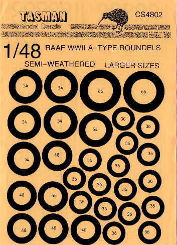 Tasman (CS4802) RAAF WW2 A-Type Roundels - larger sizes, 1/48