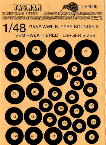 Tasman (CS4808) RAAF WW2 B-Type Roundels - larger sizes, 1/48