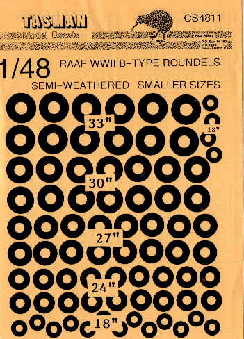 Tasman (CS4811) RAAF WW2 B-Type Roundels - smaller sizes, 1/48