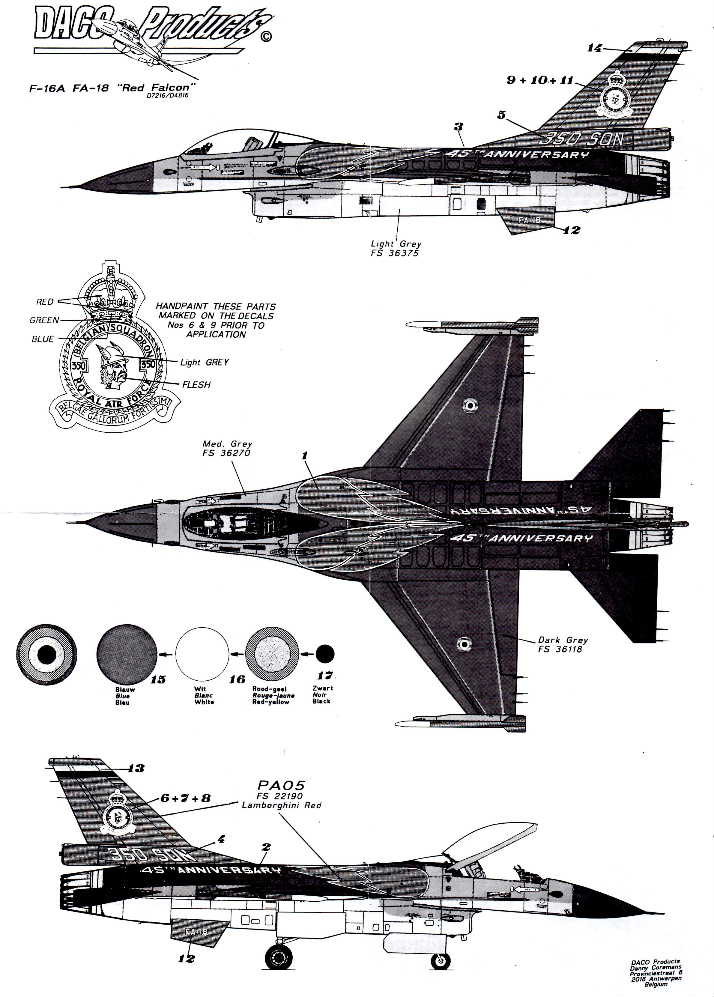 "Daco (D4816) F-16A Falcon, ""Red Falcons"" 350th Sqn, Belgian A/F,"