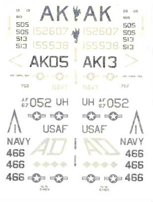 Maintrack (??) USN & USAF LowVis Markings, 1/72