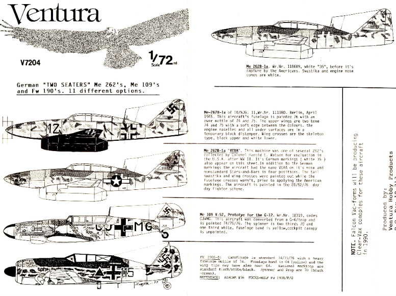 Ventura (V7204) Two Seater Bf-109's, Fw-190's Me-262's, 1/72